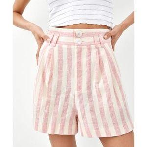 Zara Pink & White Stripe M High Waist Shorts